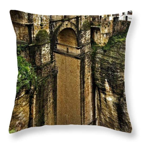 Puente Nuevo - Ronda Throw Pillow by Juergen Weiss