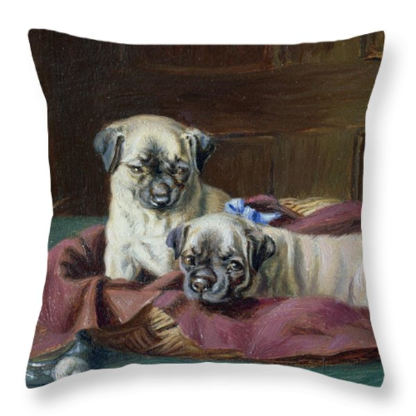 Pug Puppies In A Basket Throw Pillow by  Horatio Henry Couldery
