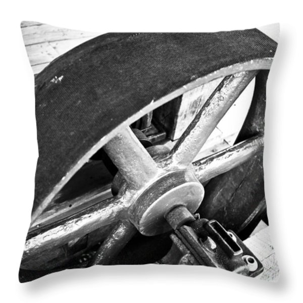 Pulley Wheel from Industrial Sawmill Throw Pillow by Paul Velgos