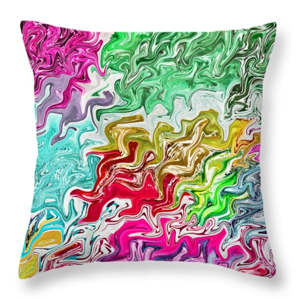 Pulling Colors Abstract Throw Pillow by Debbie Portwood