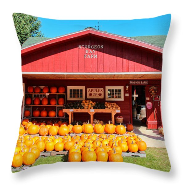 Pumpkin Barn Throw Pillow by Rachel Cohen