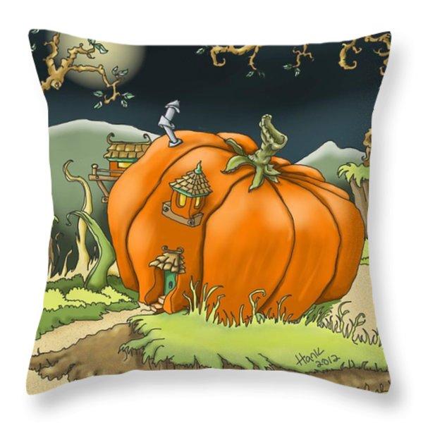 Pumpkin House Throw Pillow by Hank Nunes