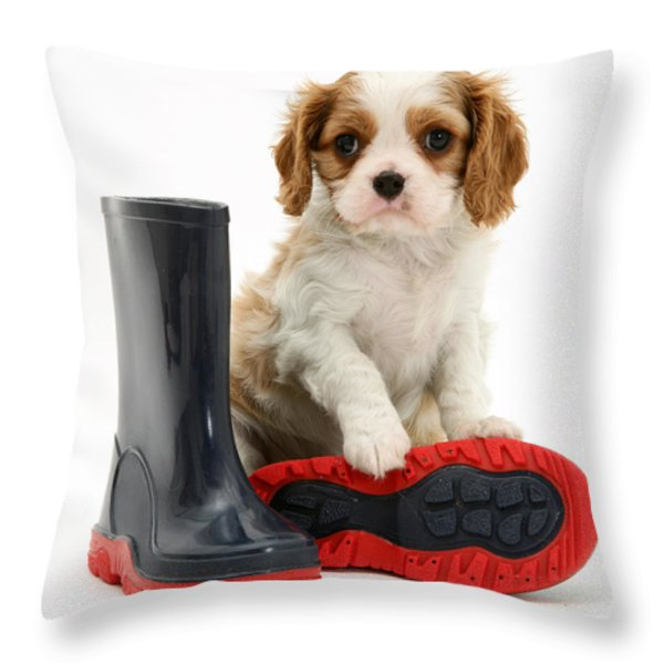 Puppy With Rain Boots Throw Pillow by Jane Burton