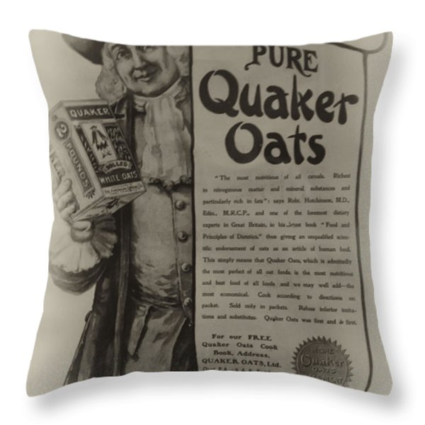 Pure Quaker Oates Throw Pillow by Bill Cannon