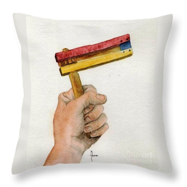 Purim rattle  Throw Pillow by Annemeet Van der Leij