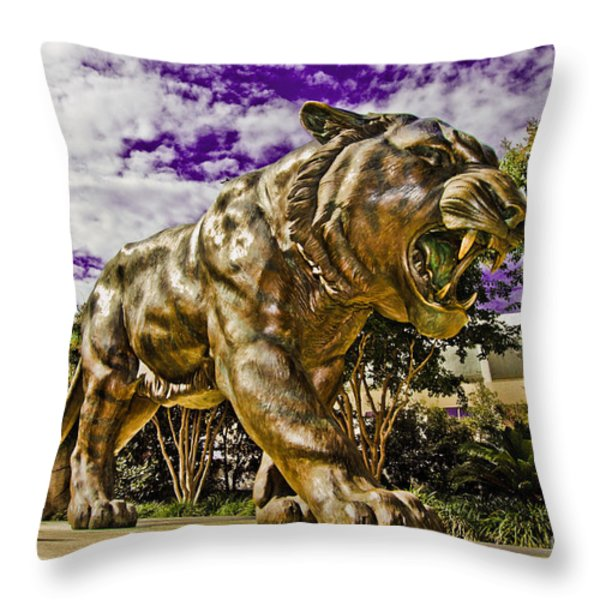 Purple and Gold Throw Pillow by Scott Pellegrin
