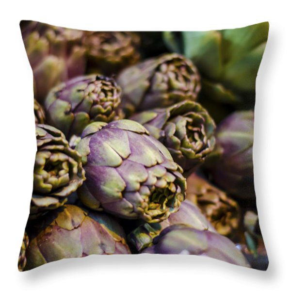 Purple Artichokes At The Market Throw Pillow by Heather Applegate