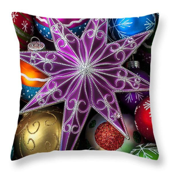 Purple Christmas Star Throw Pillow by Garry Gay