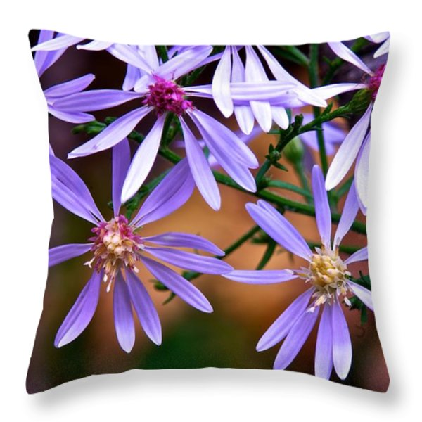 Purple Flowers Throw Pillow by Andre Faubert