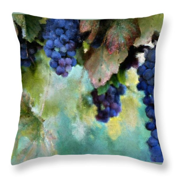 Purple Grapes Throw Pillow by Susan Holsan