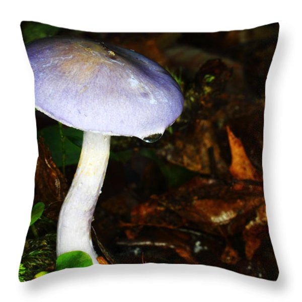 Purple Mushroom Russula Cyanoxantha Throw Pillow by Andrew Pacheco