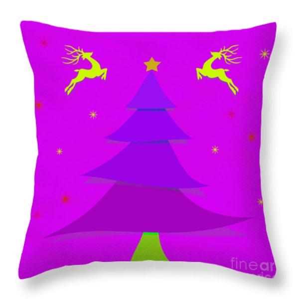 Purple X'mas Throw Pillow by Atiketta Sangasaeng