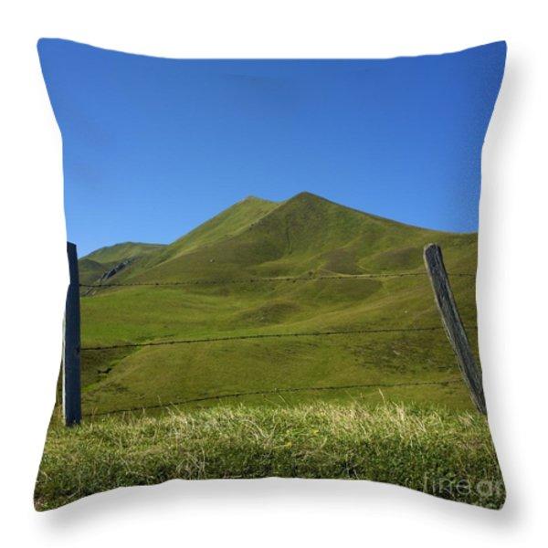 Puy De Barbier And Puy De L'angle. Auvergne. France Throw Pillow by Bernard Jaubert