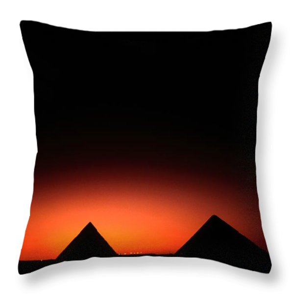 Pyramids Of Giza At Sunset Throw Pillow by Kenneth Garrett