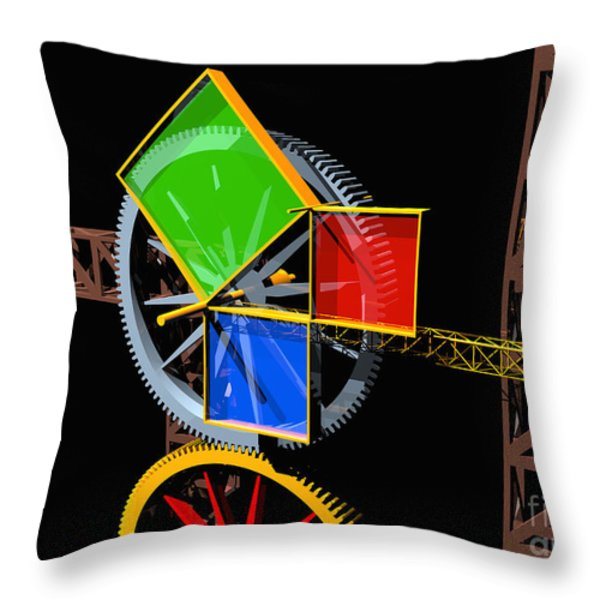 Pythagorean Machine Landscape 1 Throw Pillow by Russell Kightley