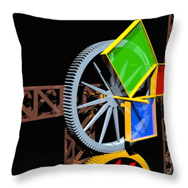 Pythagorean Machine Landscape 2 Throw Pillow by Russell Kightley