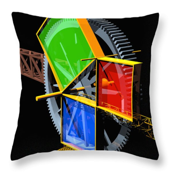 Pythagorean Machine Portrait 2 Throw Pillow by Russell Kightley