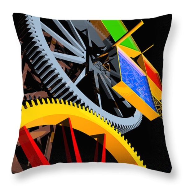 Pythagorean Machine Portrait 4 Throw Pillow by Russell Kightley