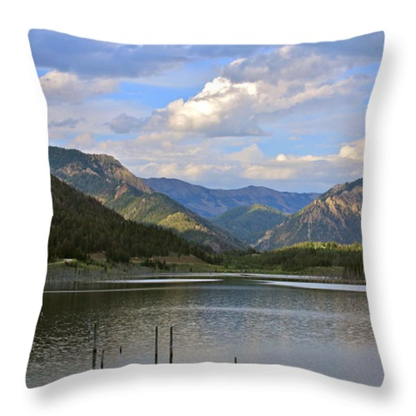 Quake Lake Throw Pillow by Karon Melillo DeVega