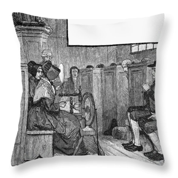 Quaker Meeting Throw Pillow by Granger