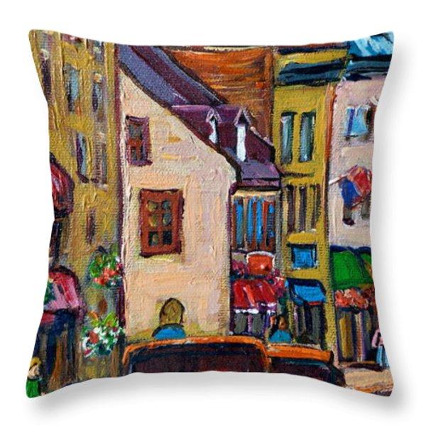 QUEBEC CITY STREET SCENE  CALECHE RIDE Throw Pillow by CAROLE SPANDAU