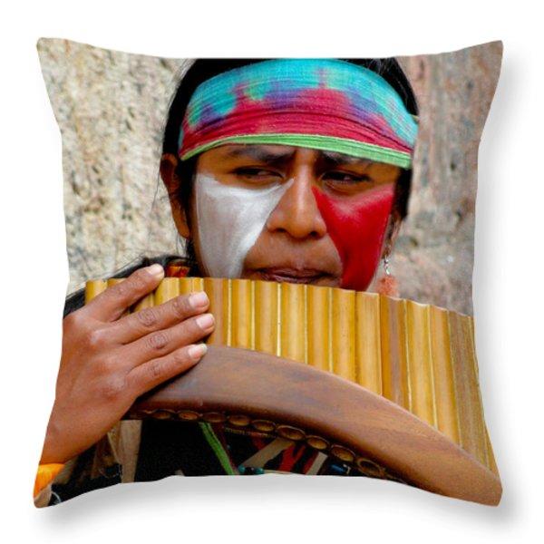 Quechuan Pan Flute Player Throw Pillow by Al Bourassa