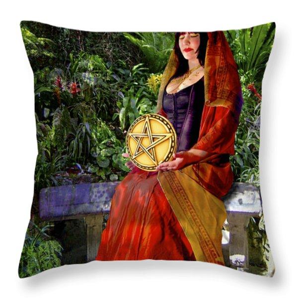 Queen of Pentacles Throw Pillow by Tammy Wetzel