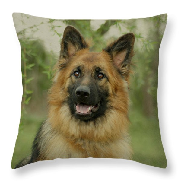 Queena - German Shepherd Throw Pillow by Sandy Keeton