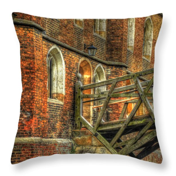 Queens' College And Mathematical Bridge Throw Pillow by Yhun Suarez