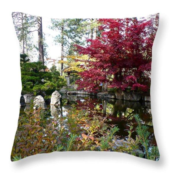 Quiet Autumn Pond Throw Pillow by Carol Groenen