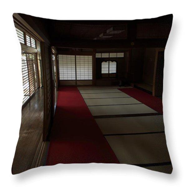 QUIETUDE of ZEN MEDITATION ROOM - KYOTO JAPAN Throw Pillow by Daniel Hagerman