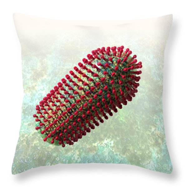Rabies Virus 2 Throw Pillow by Russell Kightley