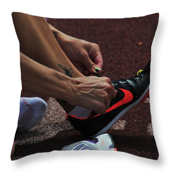 Race Preperations Throw Pillow by Mike Martin