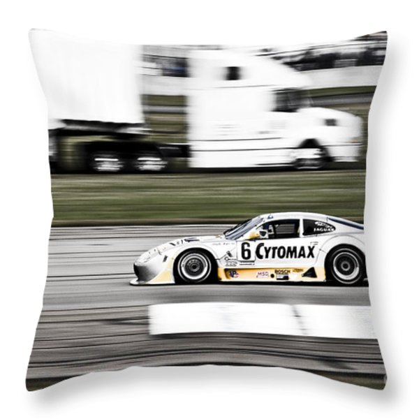 Racing By Throw Pillow by Darcy Michaelchuk