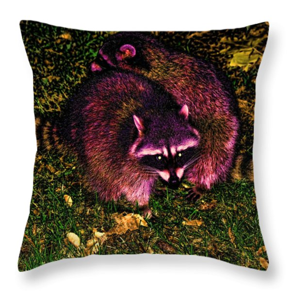 Racoons In Stanley Park Throw Pillow by Lawrence Christopher