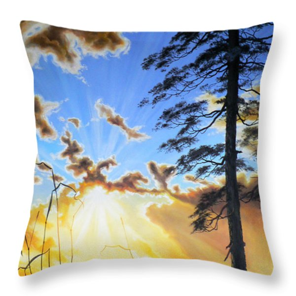 Radiant Reflection Throw Pillow by Hanne Lore Koehler