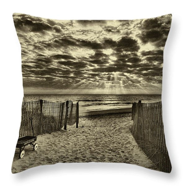 Radio Flyer At Dewey Beach Throw Pillow by Jack Paolini