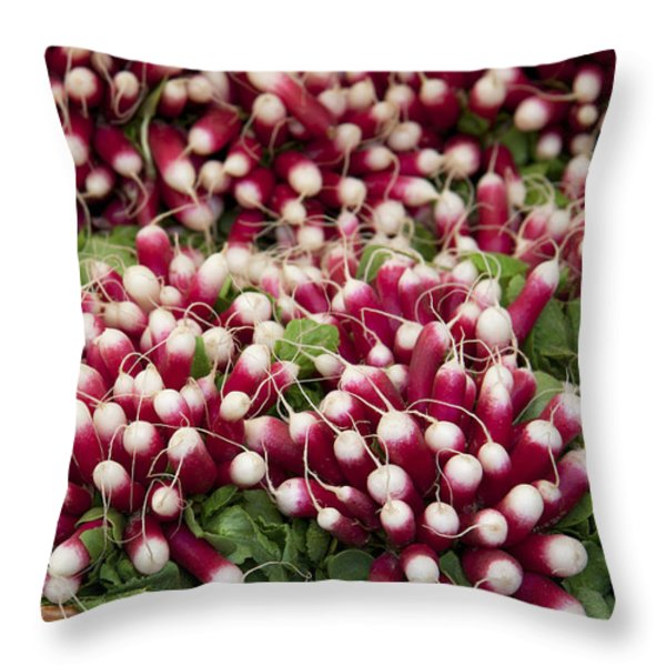 Radishes In A Basket Throw Pillow by Jane Rix