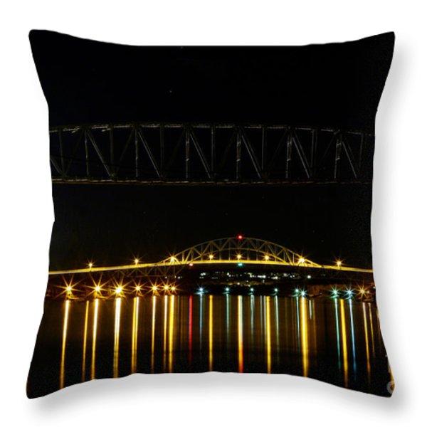 Railroad and Bourne Bridge at Night Cape Cod Throw Pillow by Matt Suess