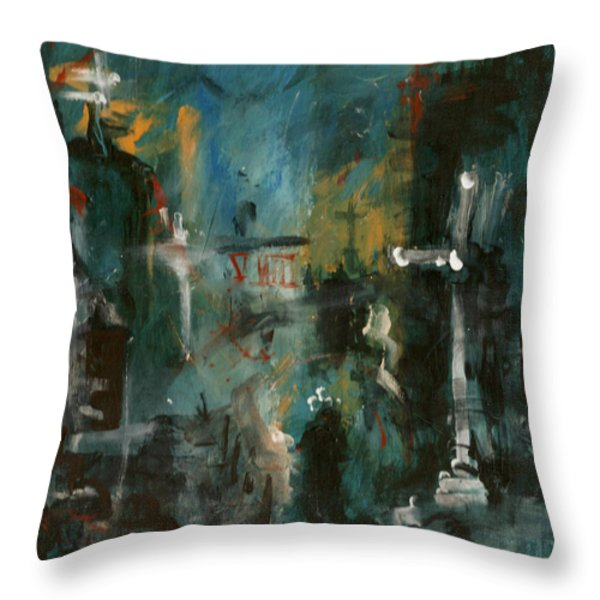 Rain In The Night City Throw Pillow by David Finley