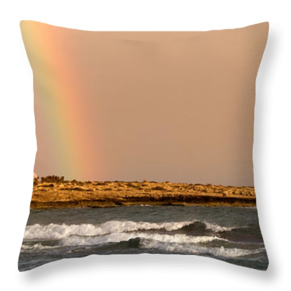 rainbow by the sea Throw Pillow by Stylianos Kleanthous