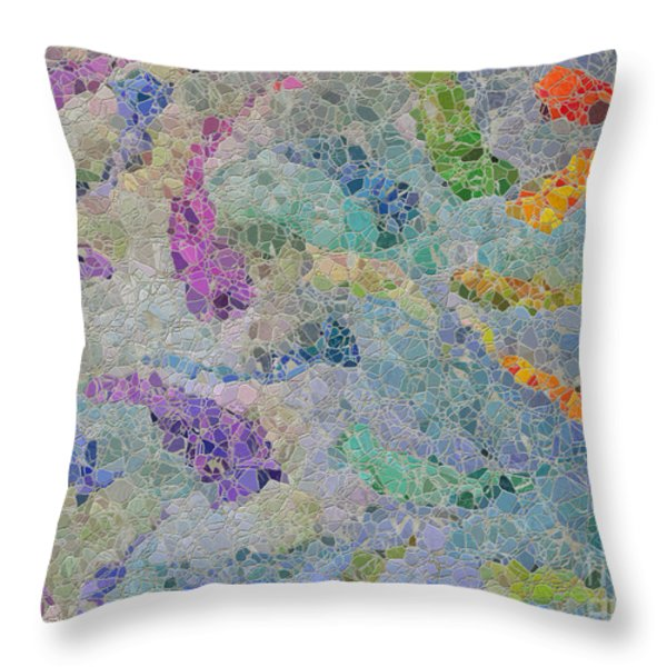 Rainbow Fish Mosaic Tile Abstract Throw Pillow by Debbie Portwood