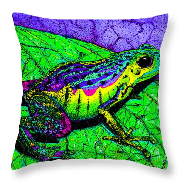 Rainbow Frog 2 Throw Pillow by Nick Gustafson