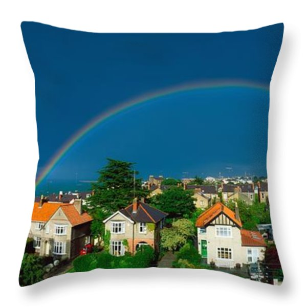 Rainbow Over Housing, Monkstown, Co Throw Pillow by The Irish Image Collection