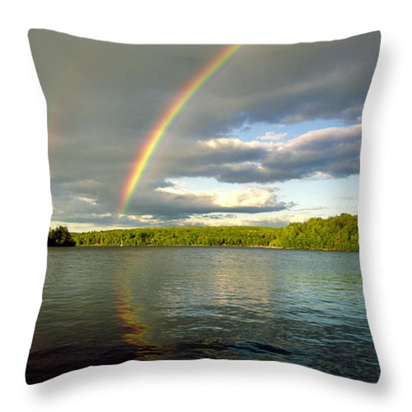 Rainbow Over Lake Wallenpaupack Throw Pillow by Michael P Godomski and Photo Researchers