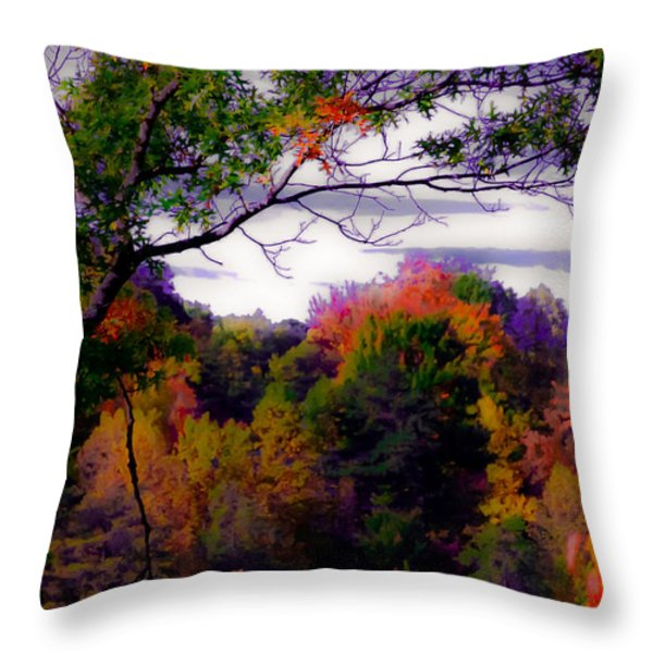 Rainbow Treetops Throw Pillow by DigiArt Diaries by Vicky B Fuller