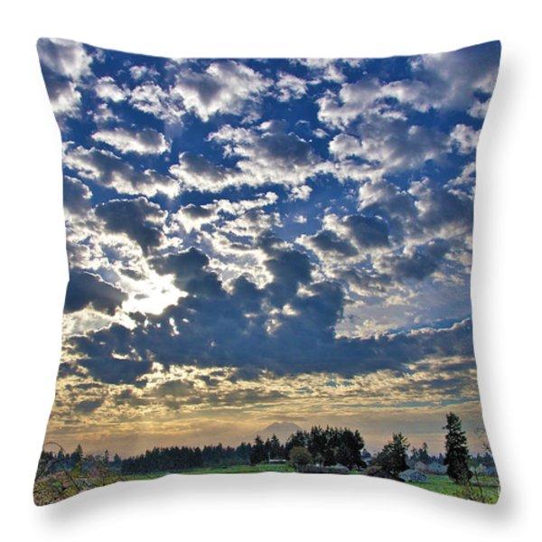 Rainier Country Throw Pillow by Sean Griffin