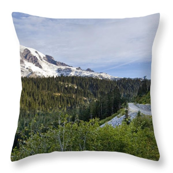 Rainier Journey Throw Pillow by Mike Reid