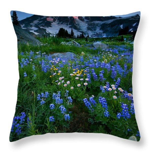 Rainier Wildflower Dawn Throw Pillow by Mike  Dawson