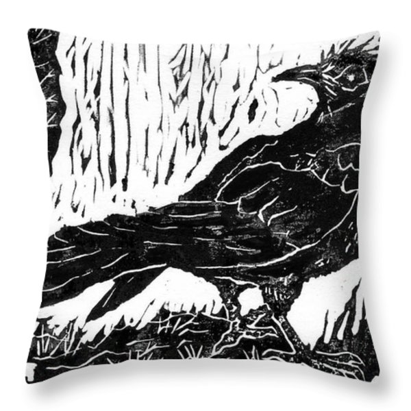 Rainy Day Crow Throw Pillow by Ellen Miffitt